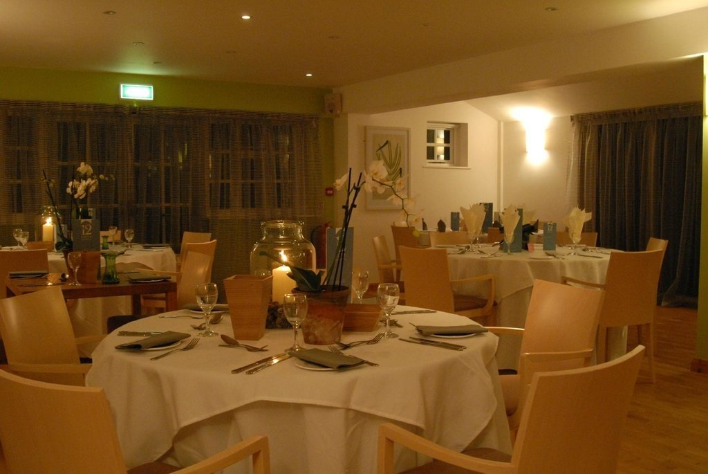 Restaurant in low light