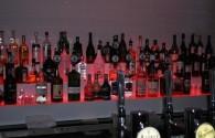 Bottles on a bar shelf